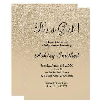 Light Gold Glitter Pink Ombre Girl Baby Shower Invitation