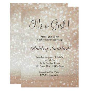 Light Gold Glitter Sparkles Rose Girl Baby Shower Invitation