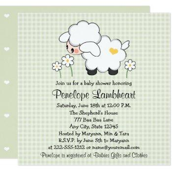 Light Green Baby Lamb Baby Shower Invitation