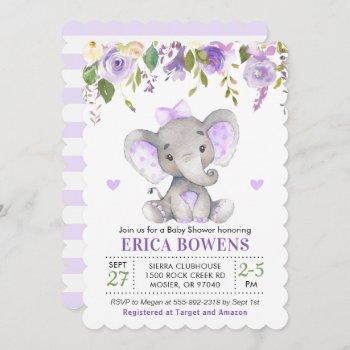 Light Purple Watercolor Girl Elephant Baby Shower Invitation