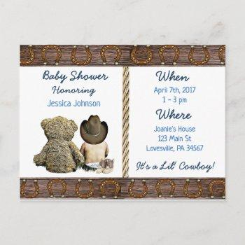 Lil Cowboy Baby Boy And Teddy Bear Baby Shower Invitation Postcard