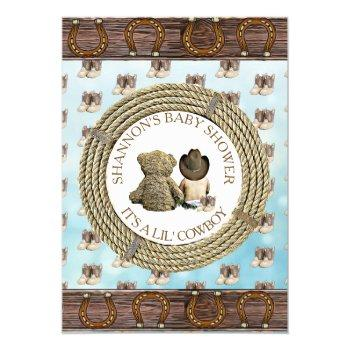 Lil' Cowboy Boy Country And Western Baby Shower Invitation