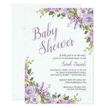 Lilac Floral Long Distance Baby Shower Invitation