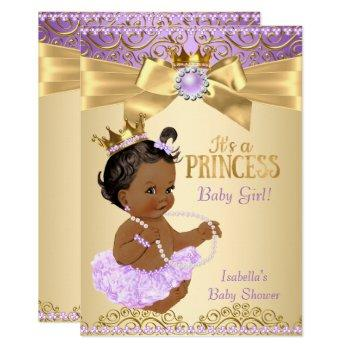 Lilac Gold Ballerina Princess Baby Shower Ethnic Invitation