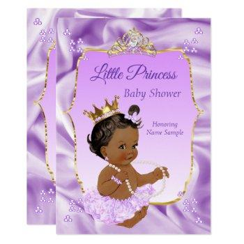 Lilac Gold Princess Baby Shower Ethnic Girl Invitation