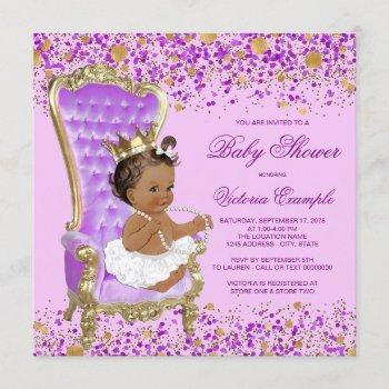 Lilac Gold Princess Baby Shower Invitation