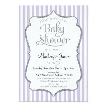Lilac Silver Baby Shower Invitation Lavender Gray
