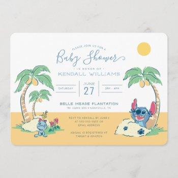 Lilo And Stitch Beach Baby Shower Invitation