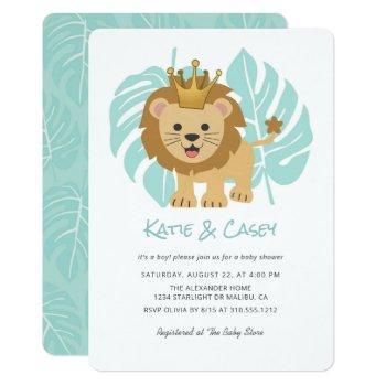 Lion Cub Jungle Leaves Boy Baby Shower Invitation