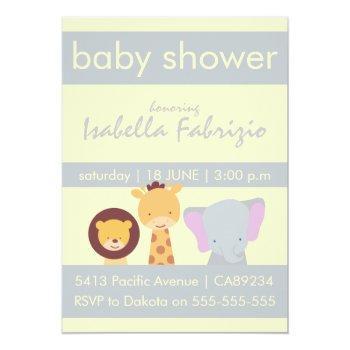 Lion Giraffe Elephant Yellow & Grey Baby Shower Invitation