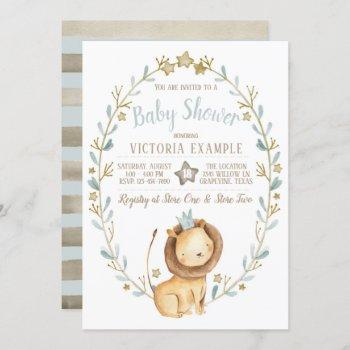 Lion Prince Baby Shower Invitations