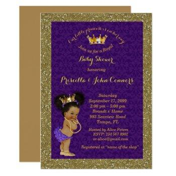Little Afro Princess Baby Shower Invitation,purple Invitation