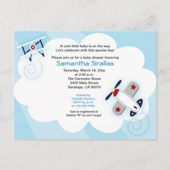 Little Aviator Airplane Baby Shower Post Card