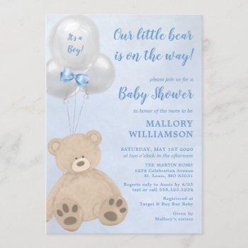 Little Bear Cub Boy Baby Shower Invitation