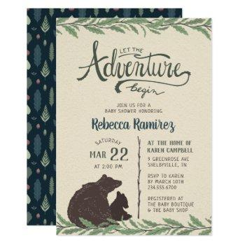 Little Bear Rustic Baby Shower Invitation