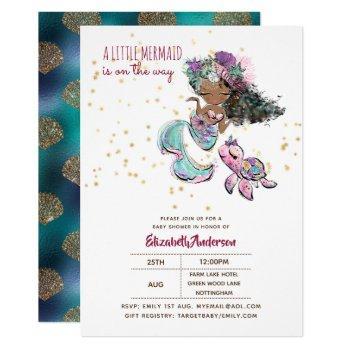 Little Black Mermaid Girls Baby Shower Under Sea Invitation