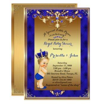 Little Blond Prince Baby Shower Invitation,navy Invitation