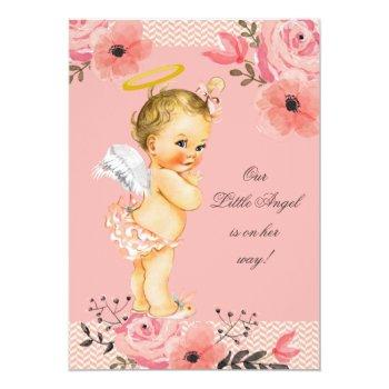 Little Blonde Angel Watercolor Flowers Baby Shower Invitation
