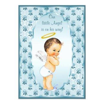 Little Boy Angel Blue Roses Baby Shower Invitation