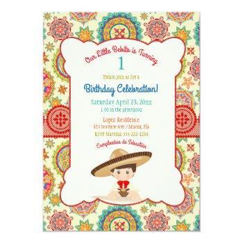 Little Boy Spanish Mexican Sombrero Colorful Invitation