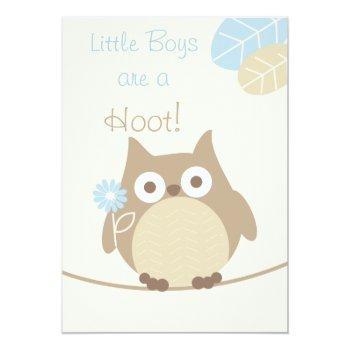 Little Boys Are A Hoot Owl Baby Shower Invitation