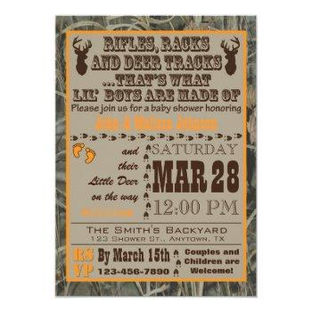 Little Boys Hunting Camo Baby Shower Invitations