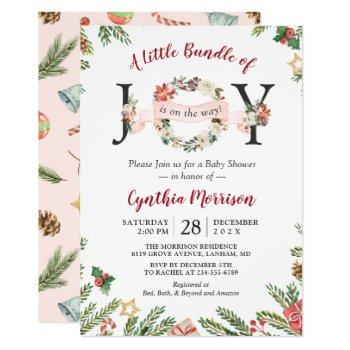 Little Bundle Of Joy Christmas Floral Baby Shower Invitation