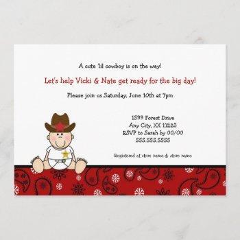 Little Cowboy Baby Shower Invites