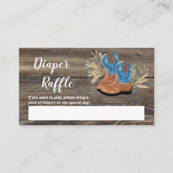 Little Cowboy Bootie Baby Shower Diaper Raffle Enc Enclosure Card