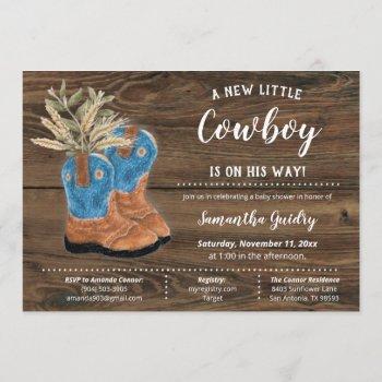 Little Cowboy Bootie Brown Wood Baby Shower