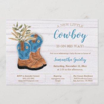 Little Cowboy Bootie White Wood Baby Shower