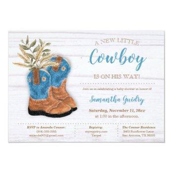 Little Cowboy Bootie White Wood Baby Shower Invitation
