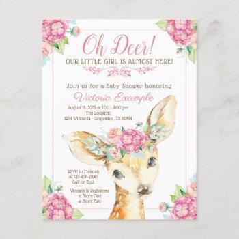 Little Deer Baby Girl Shower Invitations