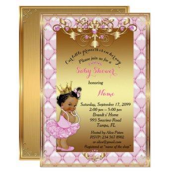 Little Etnic Princess, Baby Shower Invitation,gold Invitation