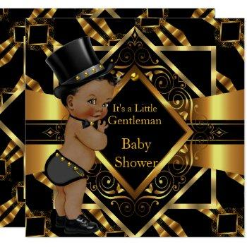 Little Gentleman Baby Shower Gold Black Ethnic Invitation