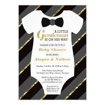 Little Gentleman Baby Shower Invitation, Faux Gold Invitation