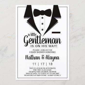 Little Gentleman Baby Shower Invitation, Tuxedo Invitation