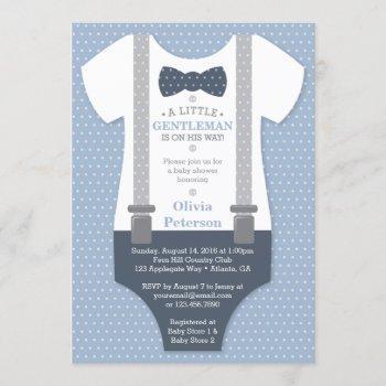 Little Gentleman Baby Shower Invite, Blue, Gray Invitation