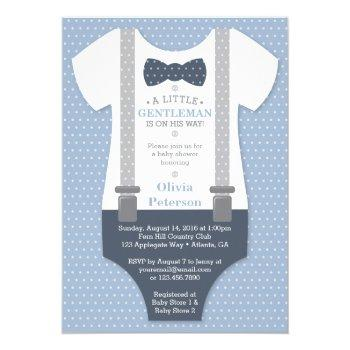 Little Gentleman Baby Shower Invite, Blue, Gray Invitation