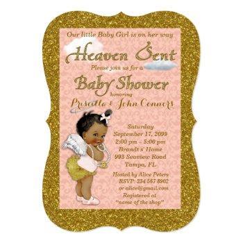 Little Girl Baby Shower Invitation,pink, Gold Invitation