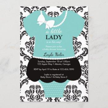 Little Lady Baby Shower , Blue, Pearls