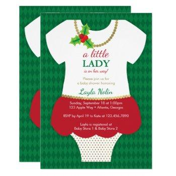 Little Lady Baby Shower Invitation, Christmas Invitation