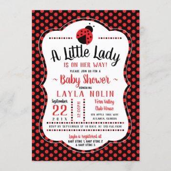 Little Lady Baby Shower Invitation, Ladybug Invitation