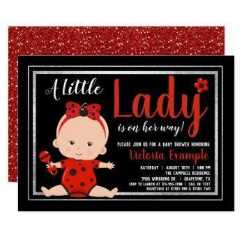 Little Lady Ladybug Baby Girl Baby Shower Invitation
