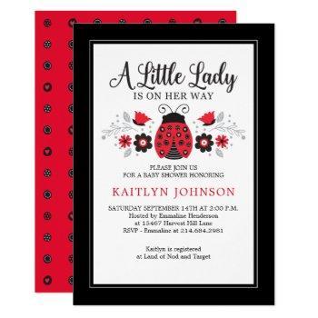Little Lady Ladybug Girl Baby Shower Invitation