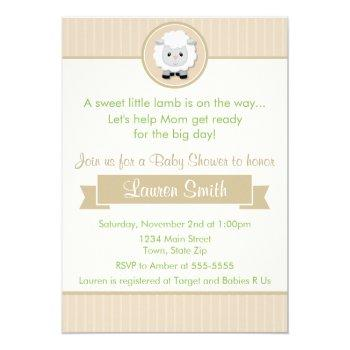 Little Lamb Baby Shower Invitation 5x7 Card