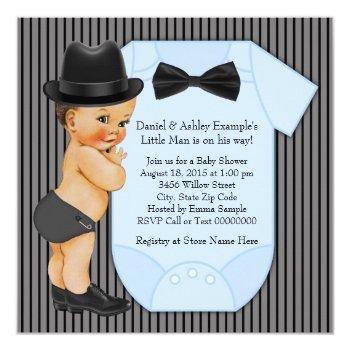 Little Man Baby Boy Shower Invitation