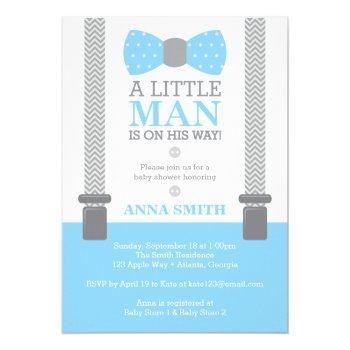 Little Man Baby Shower Invitation, Baby Blue, Gray Invitation