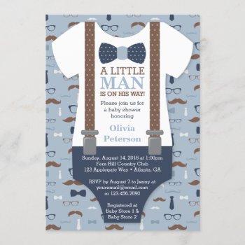 Little Man Baby Shower Invitation, Blue, Brown Invitation