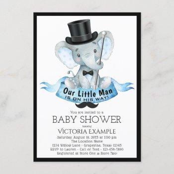 Little Man Baby Shower Invitation Dapper Elephant